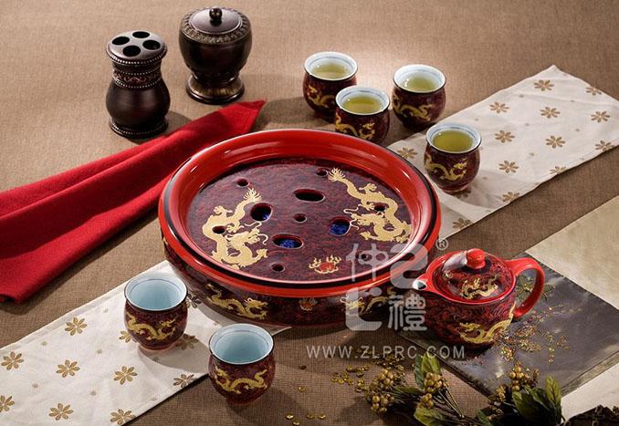 十件套功夫茶具红海浪金龙,ZLHSCY05