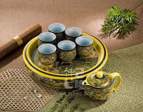 十件套功夫茶具黄海浪金龙,ZLHSCY04