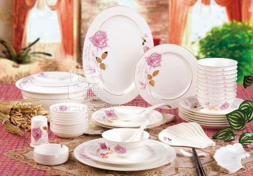 56头金叶玫瑰餐具,ZL09DL02