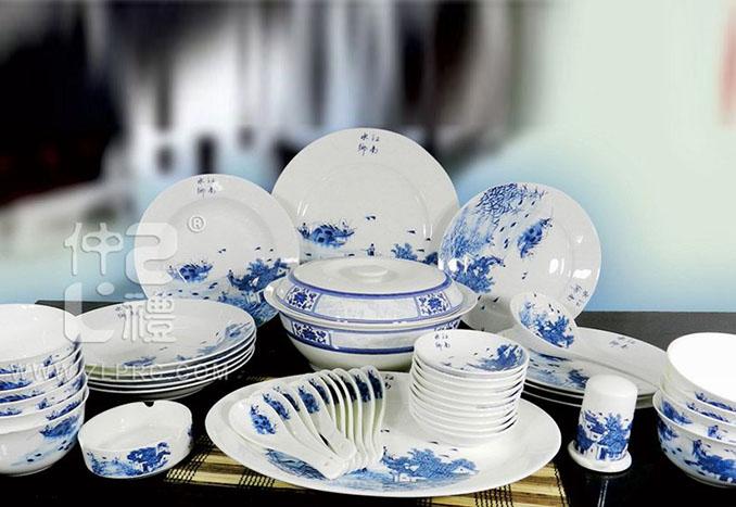 46件套江南水乡釉中彩餐具,ZLTSZX01