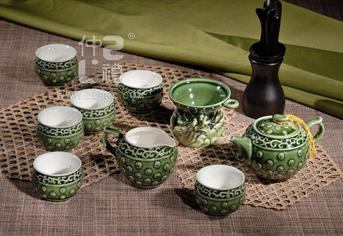养生活瓷墨绿茶具,ZLJY01