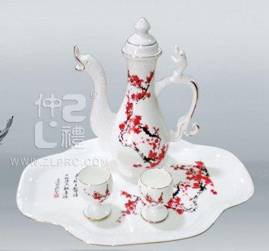 金边釉红梅酒具,ZLSS-32