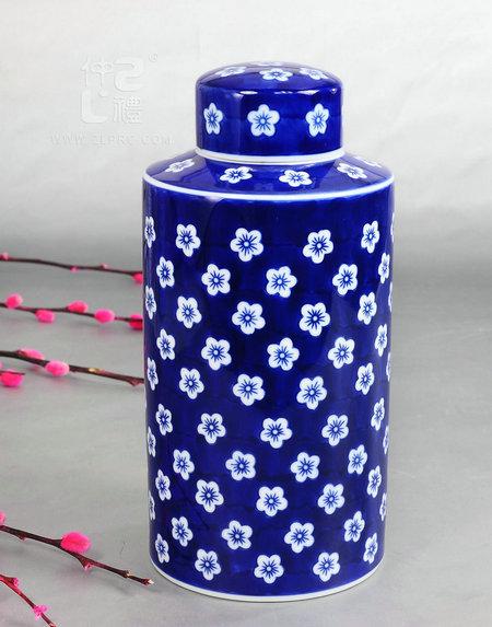青花瓷圆形茶叶罐-梅花