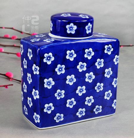 青花瓷方形茶叶罐-梅花