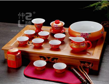 17头中国红功夫茶具