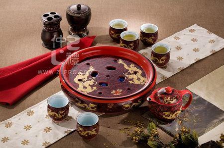 十件套功夫茶具红海浪金龙