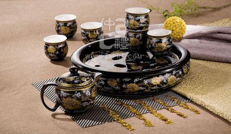 十件套功夫茶具黑釉金线牡丹
