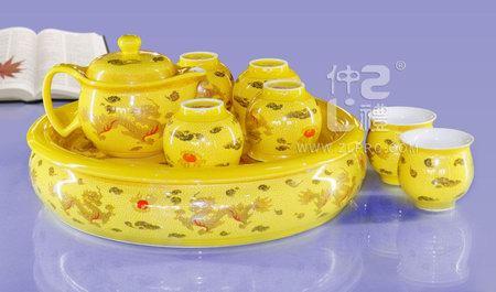 十件套功夫茶具黄金龙