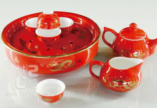 10头中国红功夫茶具
