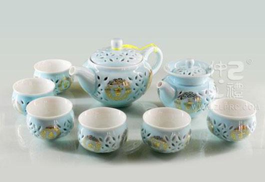 海碧蓝釉通孔吉祥如意10头茶具组