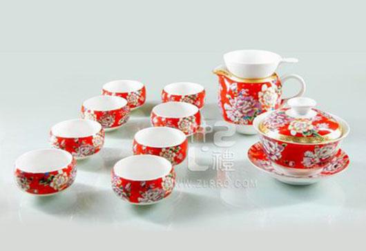 亚光白釉红牡丹新茶碗苹果杯13头功夫茶具组(八马)