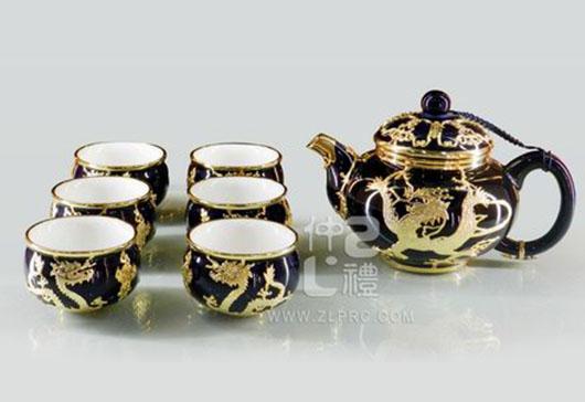 蓝釉贴金大闻香壶新大双层杯8头茶具组,ZLSS-04