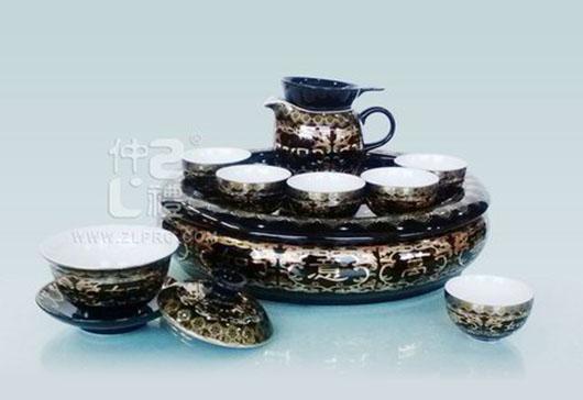 黑釉万事如意配11盘方柄壶小苹果杯12头茶具组,ZLSS-06