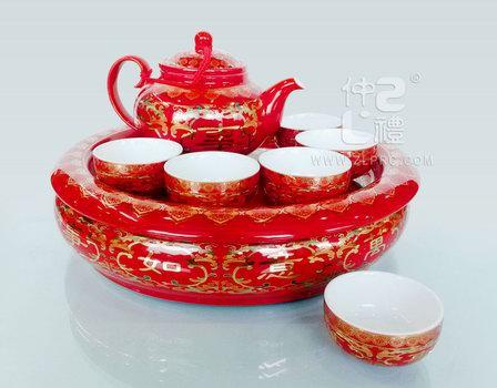 """红釉万事如意配11""""盘中闻香壶小A杯11头茶具组"""