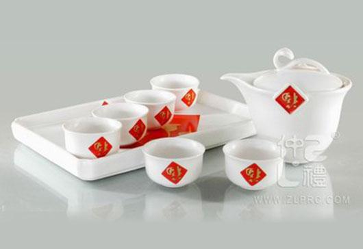 亚光白釉红福高茶碗四方盘小茶杯9头茶具组,ZLSS-09