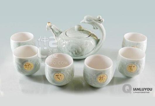 浅绿釉大号龙凤壶8头茶具组,ZLSS-10