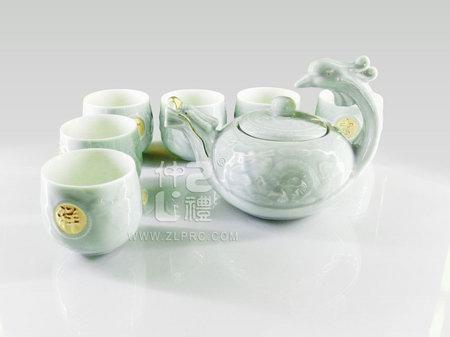 梅子青釉大号龙凤壶8头茶具组,ZLSS-11
