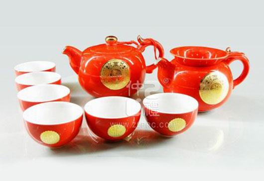 红釉万事如意圆茶壶新茶杯10头茶具组