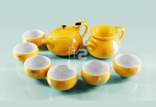 新黄釉万事如意小圆茶壶小苹果杯10头茶具组,ZLSS-14