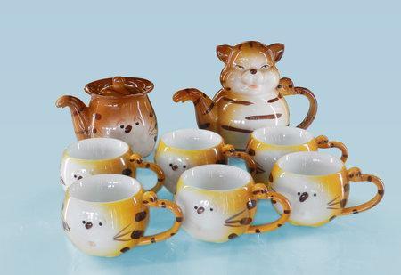 透明釉小猫造型10头茶具组
