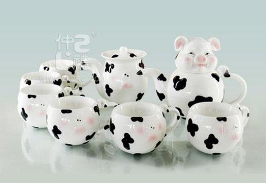 透明釉小猪造型10头茶具组,ZLSS-20