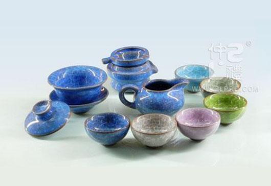 蓝色冰裂釉茶海茶备配6色杯12功夫头茶具