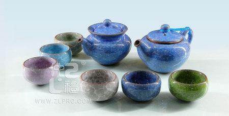 蓝色冰裂釉茶海茶备配6色杯10功夫头茶具,ZLSS-21A