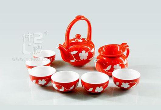 红釉白花小提梁壶小A杯10头茶具组