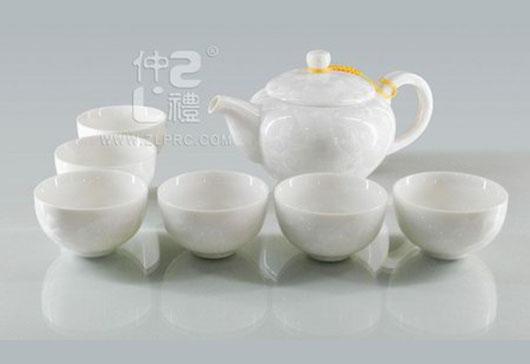 白色结晶釉大号方柄壶大新茶杯8头茶具组,ZLSS-31
