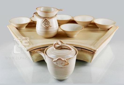 浅亚光棕釉扇形盘高如意壶反口杯12头茶具组,ZLSS-34